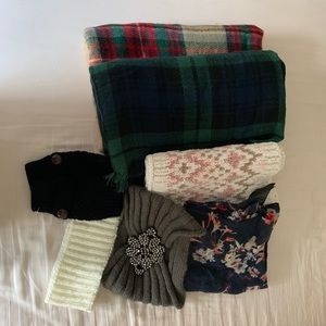 Lot of 7 Winter Items: Blanket & Infinity Scarves